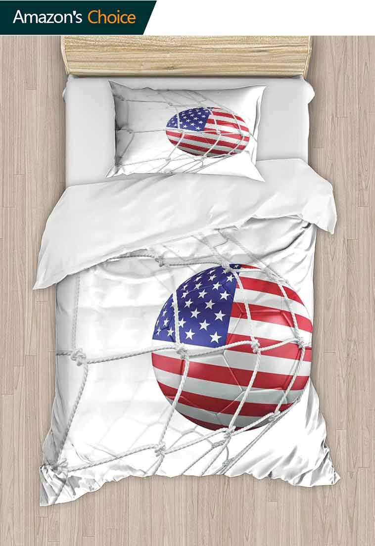 Sports Decor DIY Duvet Cover and Pillowcase Set, USA American Flag Printed Soccer Ball in a Net Goal Success Stylized Artwork, Bedding Set Cover with 1 Pillow Shams Decorative Quilt Cover Set by carmaxshome