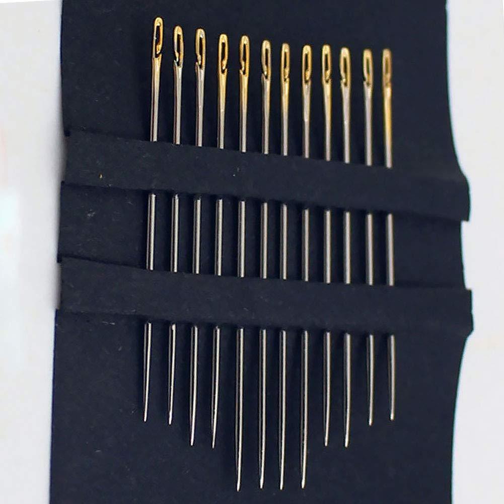 argento aghi da cucito con apertura laterale per uso domestico e rammendo a mano 12 pezzi//6 pezzi Aghi da cucito a mano in acciaio inox