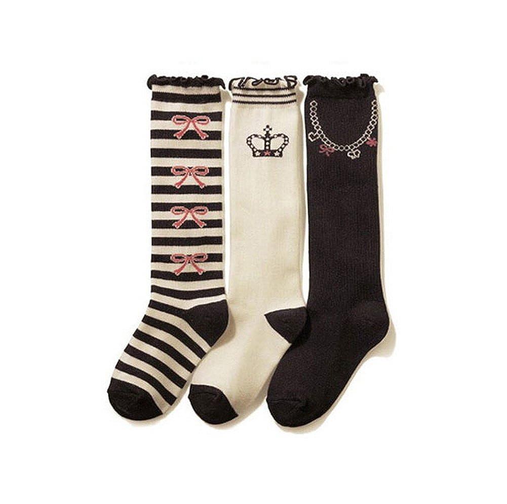 7-13X 3 Packs Black /& White Knee High Stockings for Girls