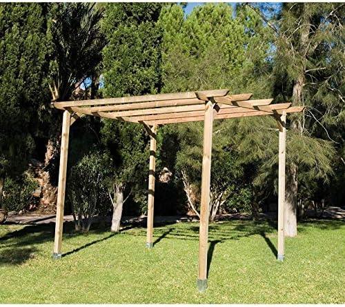 PERGOLA DE MADERA para JARDIN y PORCHE 360x360x250 cm ...