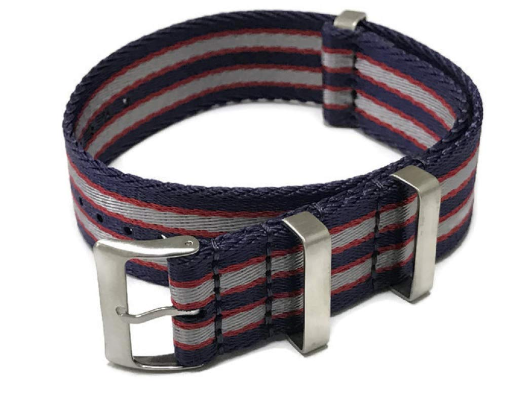 AquaNation - Watch Straps Seat Belt Silk Weaved Nylon Premium Quality Silk NATO Straps | Heavy Duty Military Style Replacement Watch Band | Choice of Color and Size 20mm, 22mm (22mm, Blue/Red/Silver)