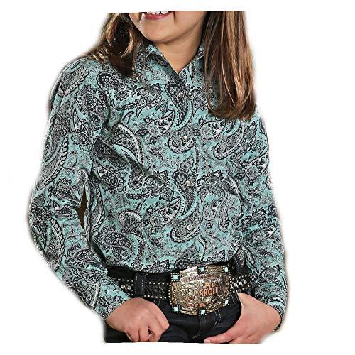 Snap Close Western Shirt - Cruel Girl Girl's Turquoise Paisley Western Shirt (Large)