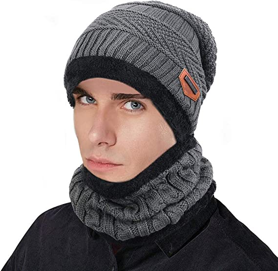 Crazy lin Mens Beanies Thick Warm Headwear Solid Grey Outdoor Hat Knitted Skullies Caps