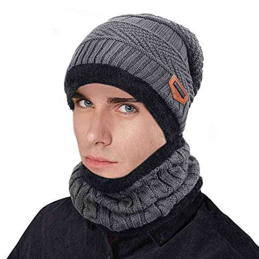 70473dc85a5 Men Winter Warm Knitted hat Scarf Scarves Set Wool Lining Outdoor Sports ski  Cap