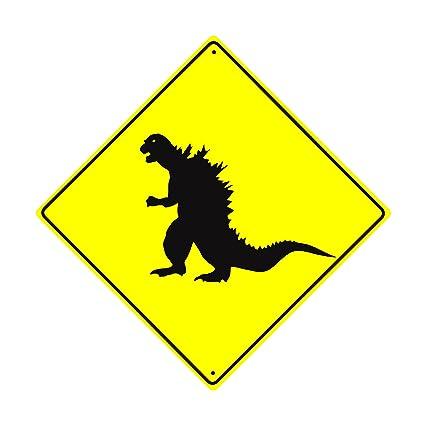 Amazon.com: Dinosaur Godzilla Xing Crossing Caution Danger Funny ...