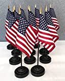 12 US 4''x6'' Miniature Desk & Table Flags Includes 12 Flag Stands & 12 American Small Mini Flags