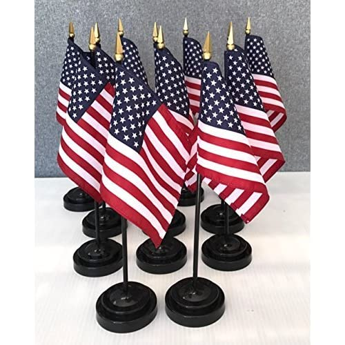 """Wholesale 12 US 4""""x6"""" Miniature Desk & Table Flags Includes 12 Flag Stands & 12 American Small Mini Flags hot sale"""