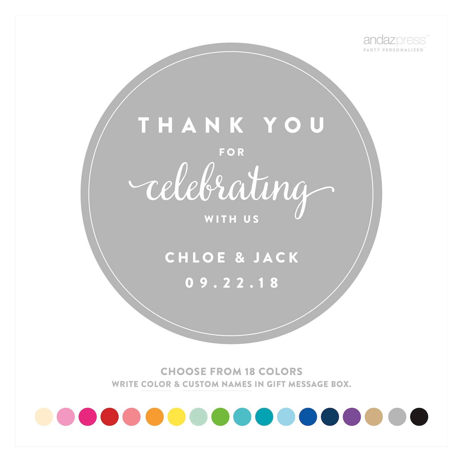 Amazon com andaz press personalized circle labels stickers wedding thank you for celebrating with us 40 pack custom made any name kitchen dining