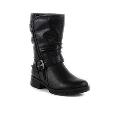 cfbcce485ad9 Lilley Womens Black Buckle Biker Boot - Size 5 UK - Black  Amazon.co ...