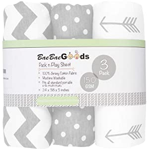 Pack n Play Playard Sheet Set | Portable Mini Crib Fitted Sheets for Boys & Girls | Grey & White | 100% Jersey Knit Cotton | 150 GSM | 3 Pack