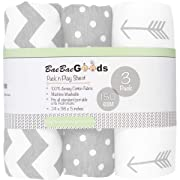 BaeBae Goods Jersey Cotton Fitted Pack n Play Playard Portable Crib Sheets Set | Grey and White | 150 GSM | 100% Cotton | 3 Pack