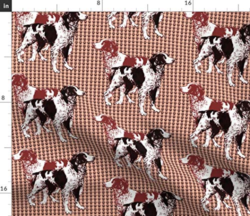 Brittany Fabric - Spaniel Pawprint Dogs Hunting Print on Fabric by The Yard - Sport Lycra for Swimwear Performance Leggings Apparel - Paw Spaniel Dogs Print
