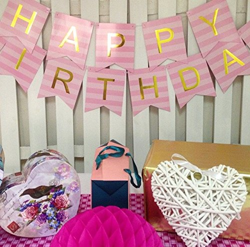 Keira Prince Happy Birthday Banner, Pastel Pink on Pink Striped & Gold Party Decorations, Stylish, Trendy, Swallowtail Bunting Flag garland (Pink Striped Letter)