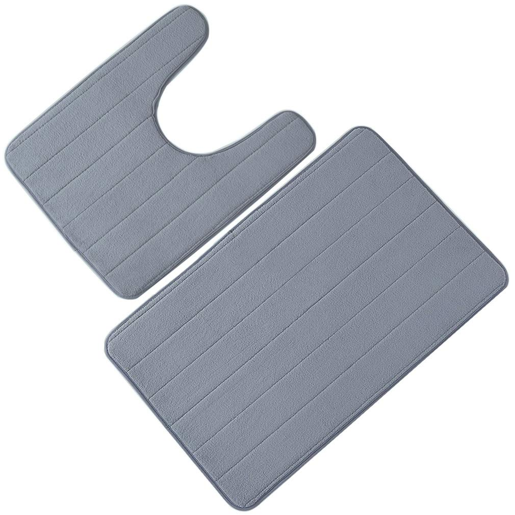 Bathroom Rug Mat,Bath Mat Memory Foam Bath Mat Rugs for Bathroom Non-Slip Water Absorbent Microfiber Extra Soft Rugs, Set of 2 Memory Foam Bath Mat and U-Shape Toilet Floor Rug (Gray) ZLOFADA