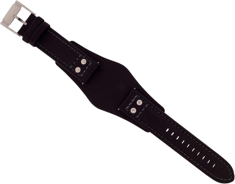 Correa para reloj Fossil modelos CH-2564 / CH-2586 / JR-1472, de cuero negro, 22mm (correa sola, reloj no incluido)