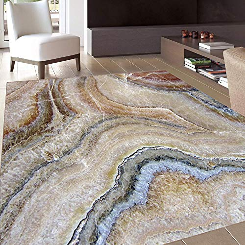 Rug,Floor Mat Rug,Marble,Area Rug,Surreal Onyx Stone Surface Pattern Pale Blue Details Artistic Picture,Home mat,5'x6'Cinnamon Grey Tan Beige,Rubber Non Slip,Indoor/Front Door/Kitchen and Living Room/