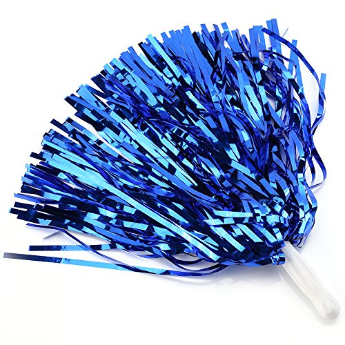 Cheerleading Poms 12 pcs Pompoms Cheer Costume Accessory For Party Dance Sports (Blue)