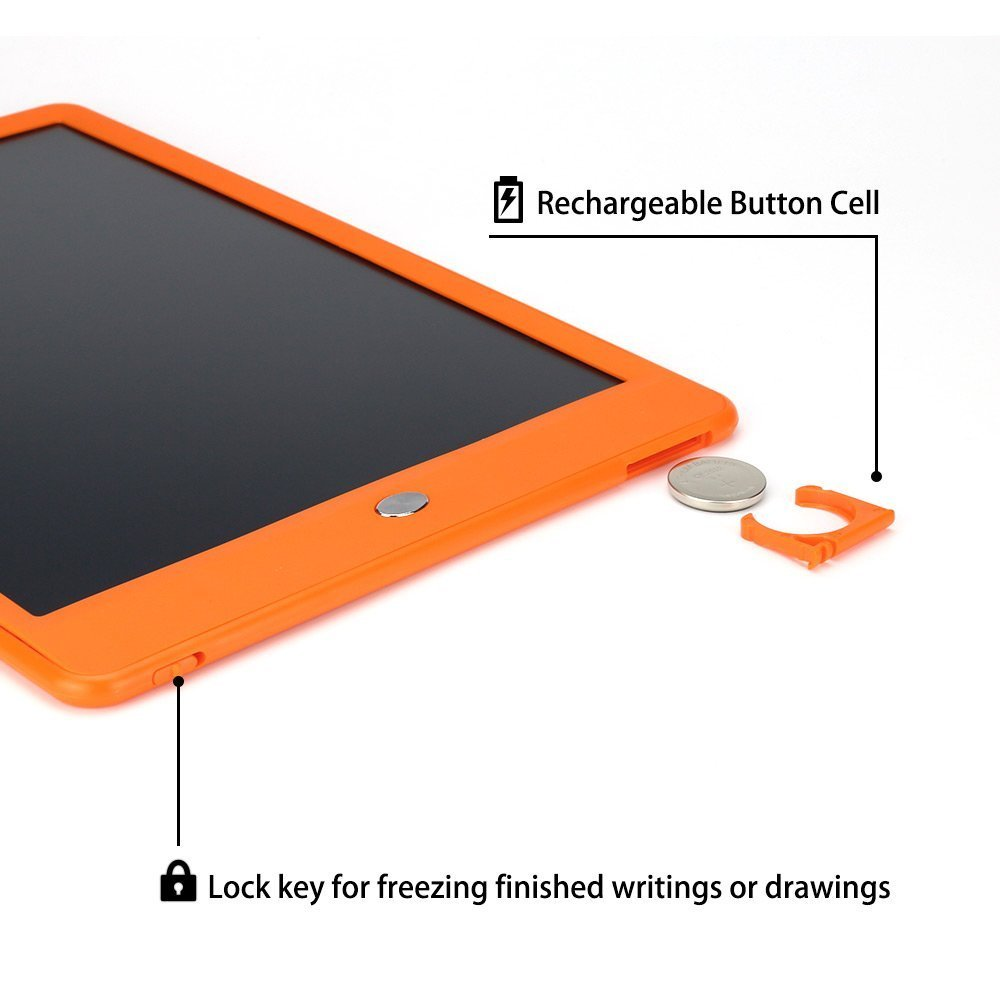 Orange colouful Kids Color Drawing pad 10inch LCD Writing Tablet with Colouful Handwriting School, Doodle Board with Stylus and Digital Screen Lock,Fun Create Customize Ideal Home