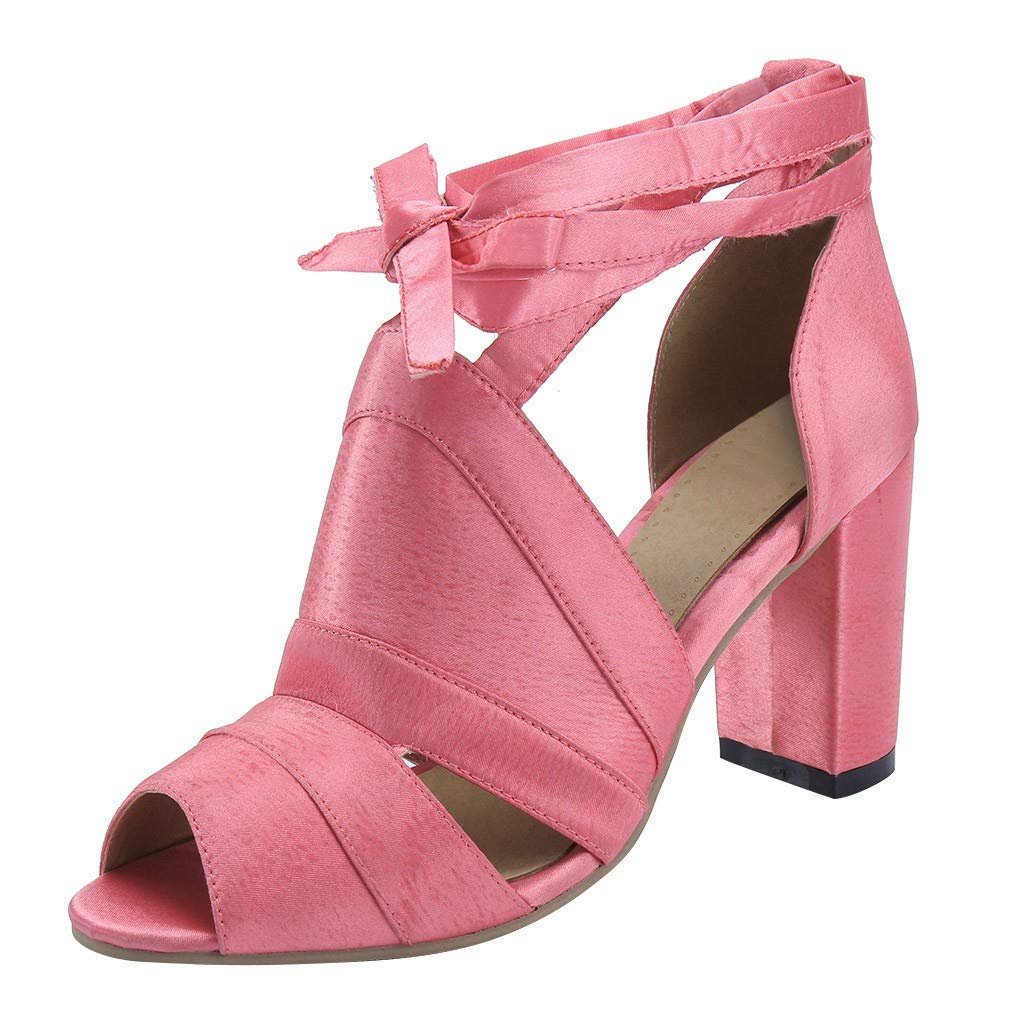 Women's Heeled Sandals Vintage Praty Square Heel Wrap-Around Ankle Strap Open Toe Roman Shoes High Heel Shoes Sandals (Pink, US:8.5)