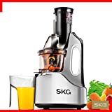 "SKG Wide Chute Anti-Oxidation Slow Masticating Juicer (240W AC Motor, 60 RPMs, 4"" Big Mouth) - Vertical Masticating Cold Press Juicer"