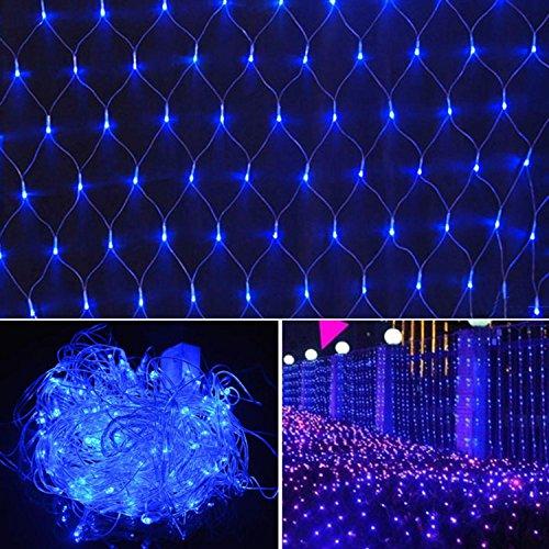 2m x 2m Net Mesh Fairy String Lights, 144 Decorative Net Lights for Party Wedding Christmas Home Patio Lawn Garden White/ Colorful/ Blue [US Plug] (Blue)