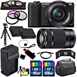 Sony Alpha a5100 Mirrorless Digital Camera with 16-50mm Lens (Black) + Sony E 55-210mm f/4.5-6.3 OSS E-Mount Lens 144GB Bundle 25 - International Version (No Warranty)