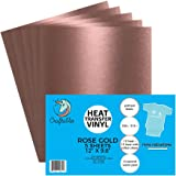 """(5) 12"""" x 9.8"""" Sheets of Craftables Rose Gold Heat Transfer Vinyl HTV - Easy to Weed Tshirt Iron on Vinyl for Silhouette Cameo, Cricut, all Craft Cutters. Ships Flat, Guaranteed Size"""