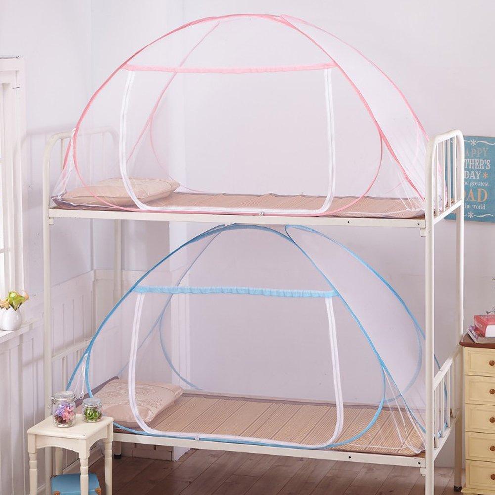 Mosquitera para cama plegable con fondo de red para beb/és y adultos para viajes rosa rosa Talla:100*200cm