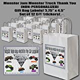 """Monster Jam Monster Truck Party Favors Supplies Decorations Gift Bag Label STICKERS ONLY 3.75"""" x 4.75"""" -12 pcs"""