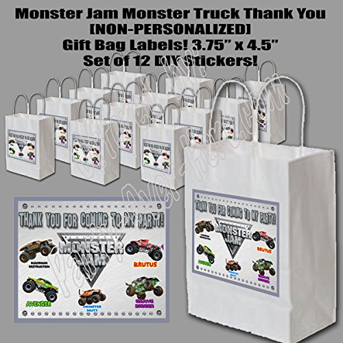 Monster Jam Monster Truck Party Favors Supplies Decorations Gift Bag Label STICKERS ONLY 3.75