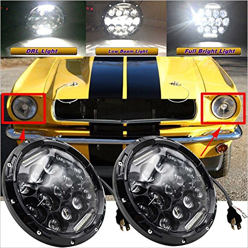 For Ford Mustang (1965-1973) LED Headlights 7 Inch Round Upgrade Bright White Sealed Beam H6024 Conversion Kit High Beam Low Beam Driving DRL Lights COMBO Headlamps H4 H13 Plug -
