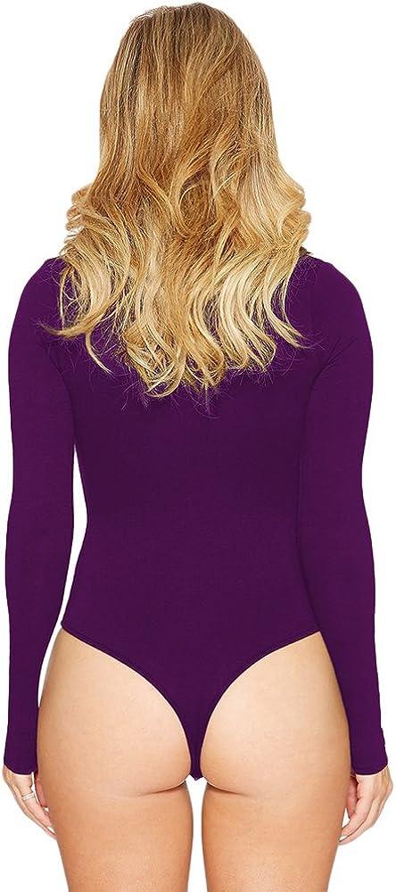 BOZEVON Womens Bodysuit Long Sleeve Round Neck Romper Elastic Leotard Top