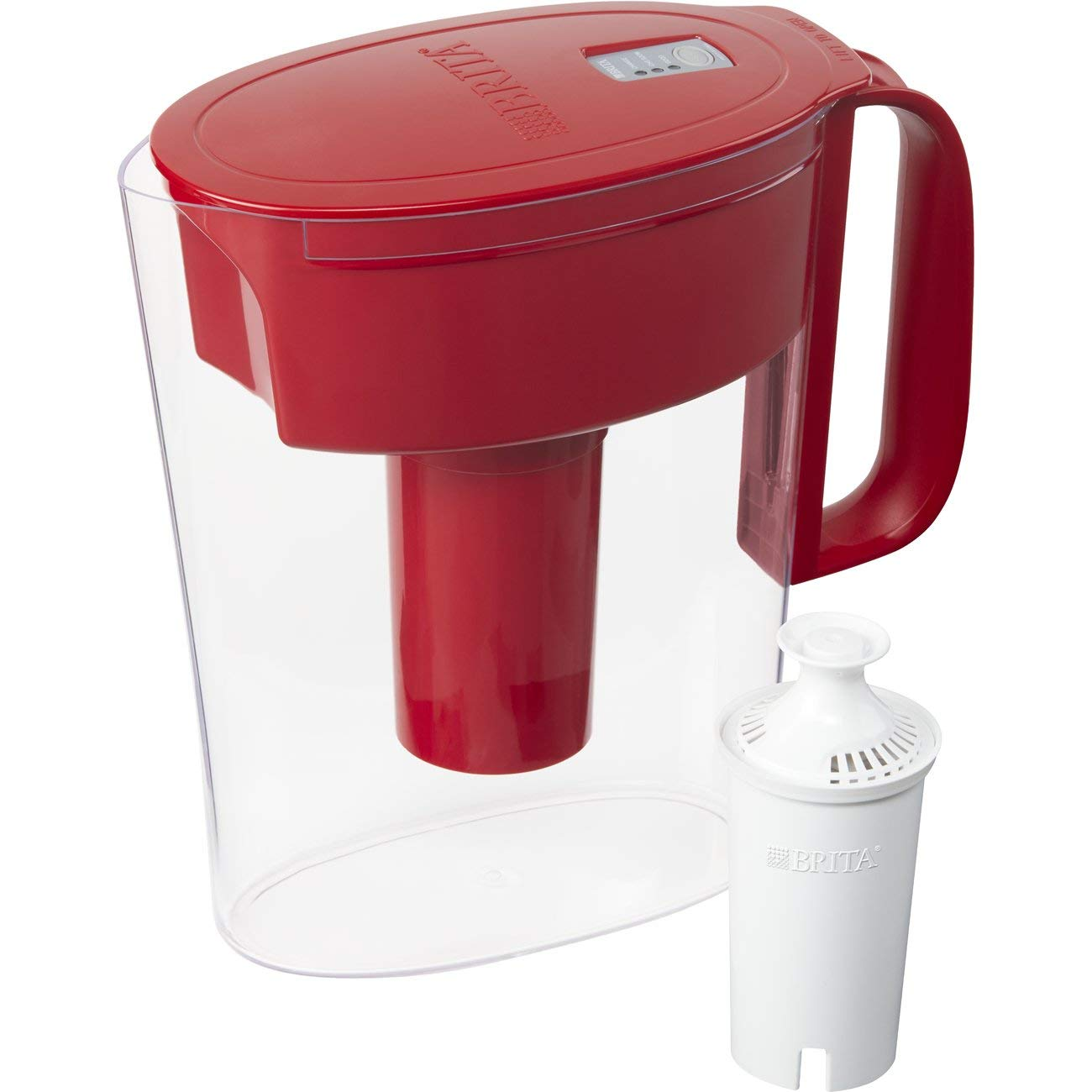 Brita Small 5 Cup Water Filter Pitcher with 1 Standard Filter, BPA Free – Metro, Red