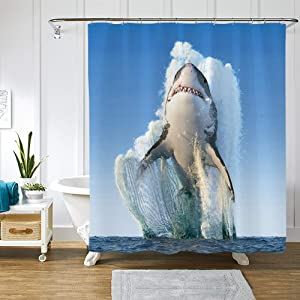 AOKDEER Ocean Wave White Shark Shower Curtain Waterproof Polyester Fabric Ocean Beach Shower Curtain Bathroom Curtains with 12pcs Hooks Bathtub Wild Shark Bathroom Decor, 72 x 72 Inches