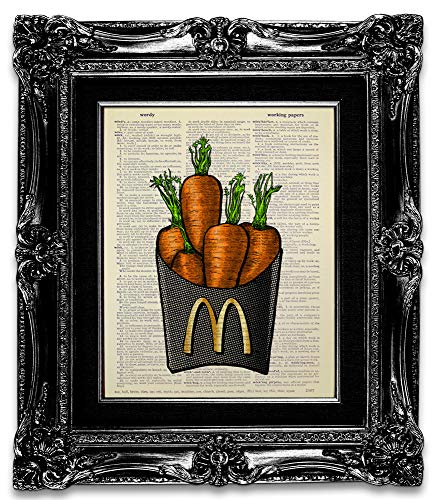 Carrots Eat - Eat Carrot No Fries, Original Painting Artwork, Funny Vegetarian Gift for Man Woman, Unique Kitchen Wall Art Print, Dictionary Art Print, Gardening Wall Decor Poster, Plant Based Food Lover Present