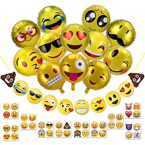 - Konsait Emoji Decorations Supplies, 53 Pack- Emoji Banner, 18 inch Emoticon Foil Helium Balloons and 40pcs Emoji Smiley Temporary Tattoos for Adult Kids Boys and Girls Birthday Party Favors