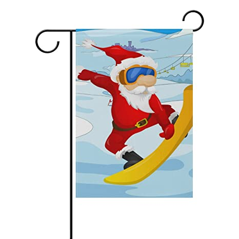 Amazon Com Leisisi Skiing Santa Claus Garden Flag 28 X40 Two