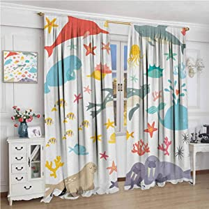 GUUVOR Ocean All Season Insulation Whale Squid Sea Lion Shark Jellyfish Clownfish Dolphin Starfish Stingrays Colorful Noise Reduction Curtain Panel Living Room W96 x L96 Inch Multicolor