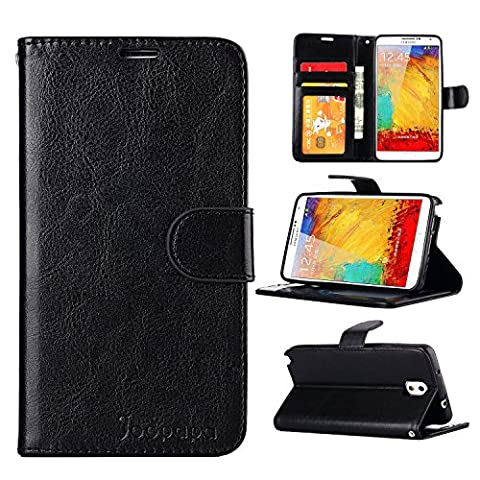 Note 3 Case, Galaxy Note 3 Case, Joopapa Galaxy Note 3 Luxury Fashion Pu Leather Magnet Wallet Flip Case Cover with Built-in Credit Card/ID Card Slots for Samsung Galaxy Note 3 N9000 (Galaxy Note 3 Phone Case Black)