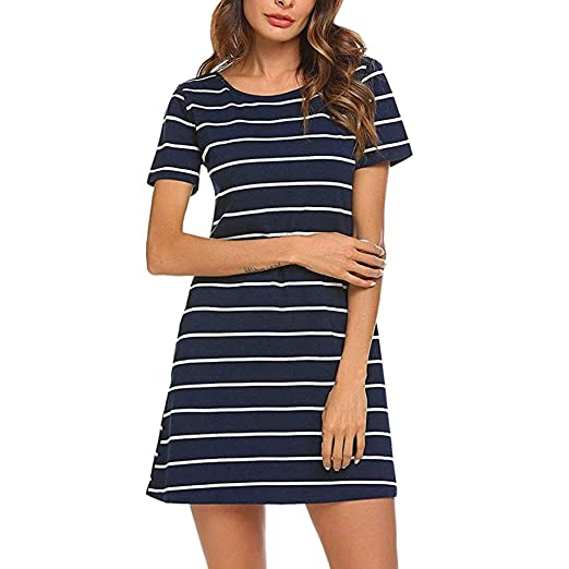 677dacf1 Women's Casual Striped Printed Dress Hollow Out Loose Short Sleeve Round  Neck Mini Dresses with Pockets at Amazon Women's Clothing store: