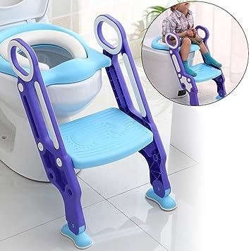 prit Inodoro Trainer con escaleras para niños, Escalera Asiento Escalera del tocador de niños Asiento para WC con escalón plegable Orinal Formación Color azul: Amazon.es: Electrónica