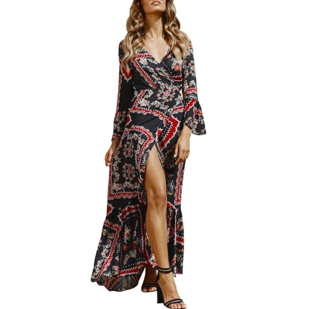Kulywon Women Deep V-Neck Printing Long Sleeves Sexy Forking Beach Long Dress
