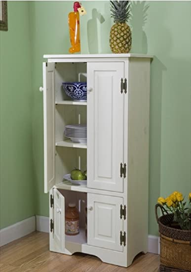Amazon Com Tall Kitchen Cabinet White Has Two Fixed And Two Adjustable Shelves Furniture Decor