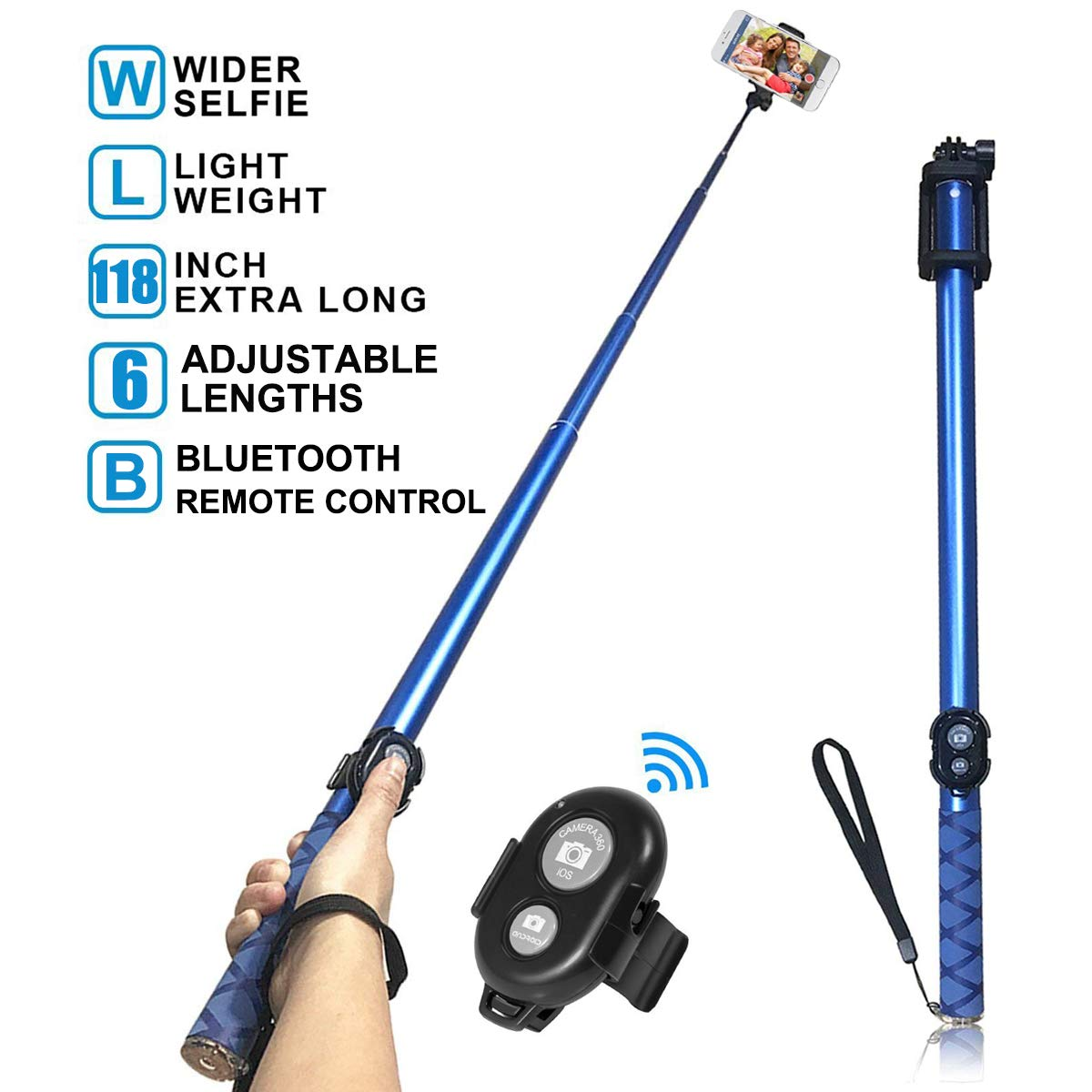 Long Selfie Stick,Extendable Foldable Selfie Stick with Wireless Bluetooth Remote and Adjustable Holder for iPhone,Samsung and Android all Smartphone Maximum 3 Meter(118-Inch) Length