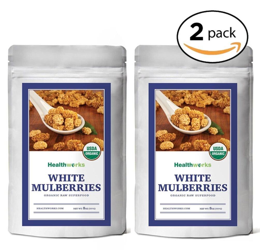 Healthworks White Mulberries Sun-Dried Organic, 1lb (2 8oz Packs)