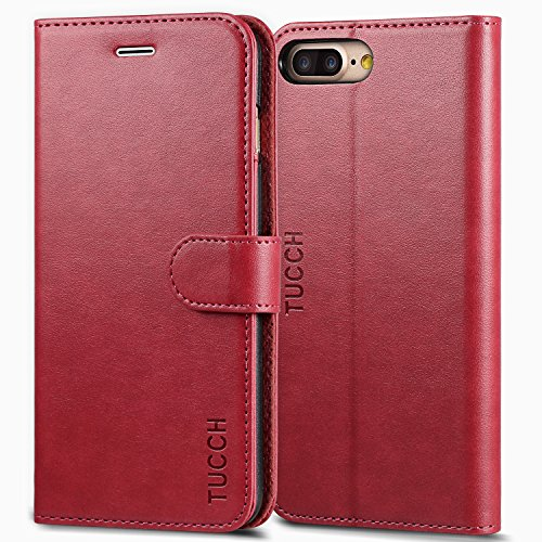 TUCCH iPhone 7 Plus Leather Wallet Case, Card Slot, Flip, Wallet, Stand, Carry-All Case for Apple iPhone 7 Plus Devices 5.5 Inch - Red