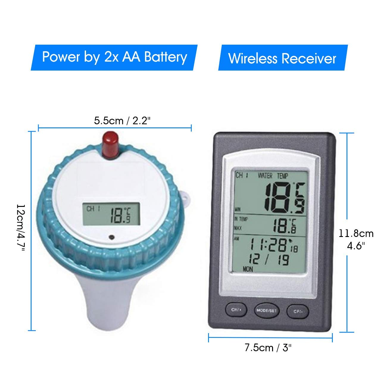 ZUZU Solar Powered Digital Pool and Spa Thermometer Wireless Thermometer Pool Pool Solar Thermometer Swimming Pool Water Temperature Monitor,A