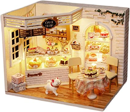Wooden DIY Kit Handcraft Miniature LED Light The Coffee Cake Doll House