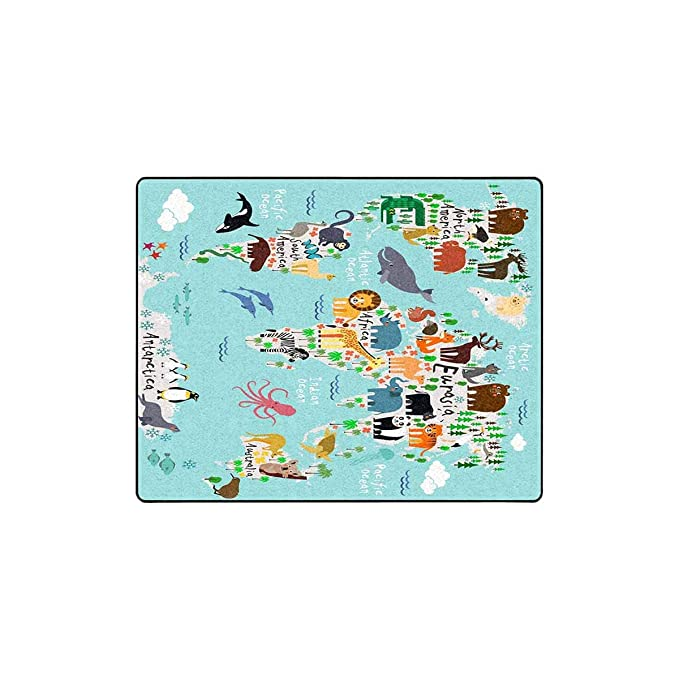 Amazon.com: INTERESTPRINT Animal Map of The World Luxury ...