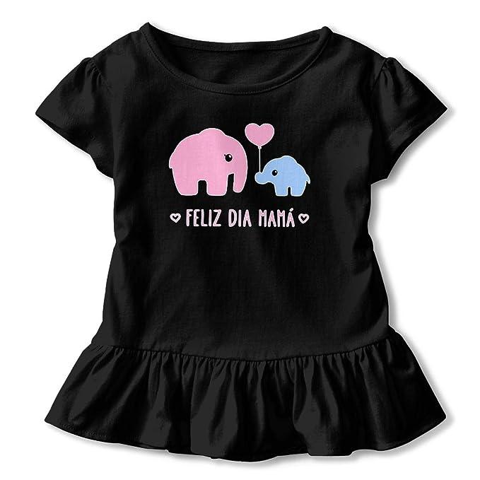 15e680c6 ZP-CCYF Elephant Mom Toddler Baby Girl Ruffle Short Sleeve T-Shirt Soft  Cotton
